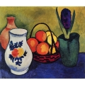White Jug with Flowers and Fruits