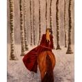 Winter Riding through birch tree forest