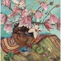 Still Life Magnolias, Apples and Bowl