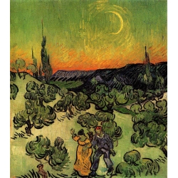 Landscape With Couple Walking And Crescent Moon