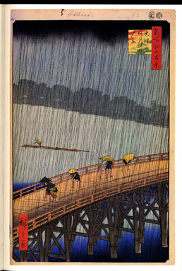 hiroshige sudden shower over shin-ohashi bridge workart classic